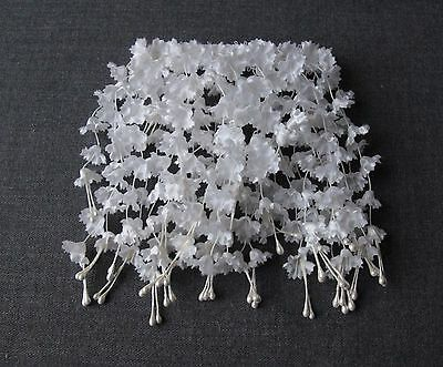 Vintage Bridal Marriage White Fabric & Pearly Flowers Large Hair Barrette Clip