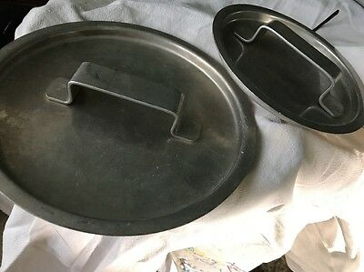 2 Aluminum Pot Lids Restaurant Pan Covers With Handles 6 1/2 & 8 1/2 In