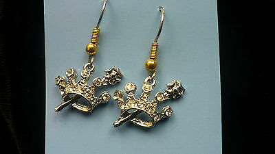 Eastern Star Queen Esther earrings OES rhinestone crown silver colour NEW