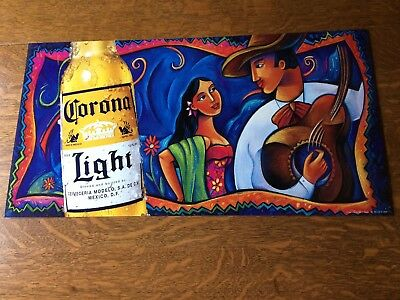 Corona Light Fiesta Tin Beer Sign Colorful Woman & Man, Guitar