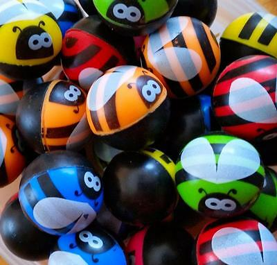 Bulk Lot x 50 Rubber Bee Bug Insect Bounce Super Balls 27mm Kids Party Favor Toy