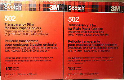 2x 3M Scotch 100 pk Transparency Film for Plain Paper Copiers 502 8.5x11 Expired