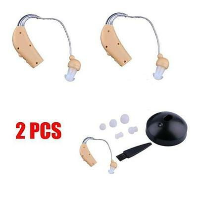 2x Small Adjustable Hearing Aids Aid Digital Tone Behind Ear Sound Amplifier TE