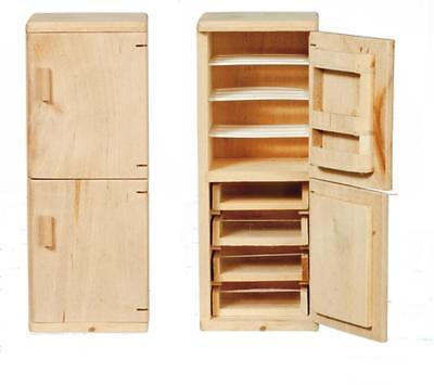 Melody Jane Dolls House Miniature Fridge Freezer Unfinished Bare Wood Furniture