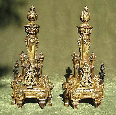 Antique Pair French Empire Style Brass Andirons Chenets