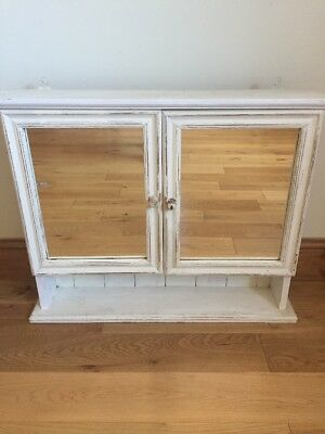 Solid White Distressed Pine Bathroom Wall Mirror Cabinet Storage Shelf