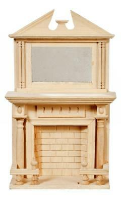 Melody Jane Dolls House Miniature Fireplace with Mirror Unfinished Bare Wood