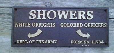 Black Segregation Sign SHOWERS WHITE OFFICERS / COLORED OFFICERS -  Cast Iron