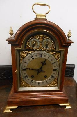 good quality winterhalder oak and brass 1/4 strike bracket clock c1900s