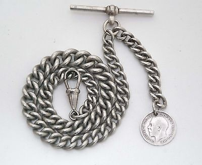 Antique Graduated Albert Pocket Watch Chain + 1913 Silver Coin Fob .