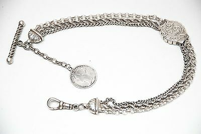 Antique Silver Albertina Pocket Watch Chain + Victorian Silver Coin Fob .
