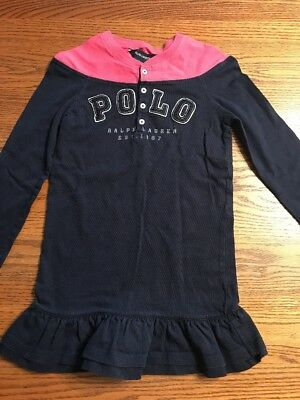 Polo,Ralph Lauren Girls Size 5 Navy, Pink Long Sleeve Dress