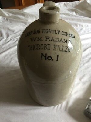 Antique 1800's WM. Radam's Microbe Killer No. 1 Stoneware Glazed Jug Nice!