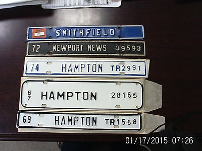 Lot  City Toppers License Plates 5 Vintage Tags