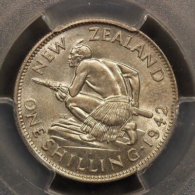 New Zealand Shilling 1942 Silver PCGS MS63