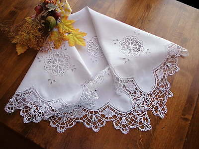 Scottish Victorian Handmade Cluny Lace White Linen Tea Time Tablecloth 36""