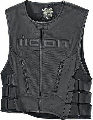 New Nwt Icon Regulator D30 Black Leather Vest Motorcycle Harley 4Xl Xxxxl