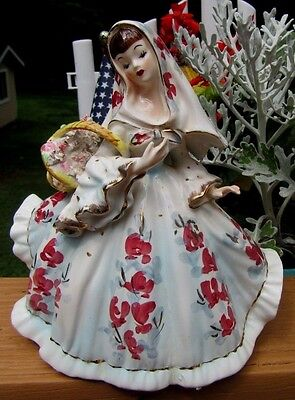 "Beautiful Vintage Lefton Lady Figurine 6 1/2"" with Basket #418"