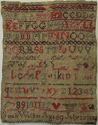 Small Early 19Th Century Alphabet Sampler By Sarah Walker Aged 9 - 1802