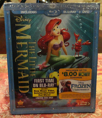 DISNEY LITTLE MERMAID 2 DISC Diamond Edition AUTHENTIC Blu Ray DVD Slipcase