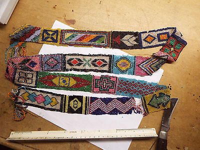 Old  Native American Indian Loomed Beaded, Long Strip Neat Design