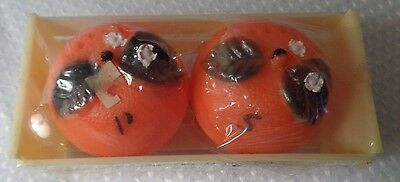 Vtge plastic orange FLORIDA salt pepper shakers w crate 1960s Hong Kong souvenir