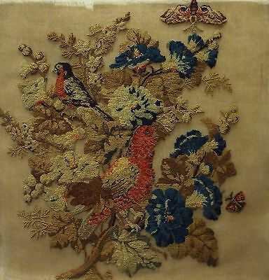 MID 19TH CENTURY WOOL WORK OF A BULLFINCH?, EXOTIC BIRD & FLOWERS - c.1860