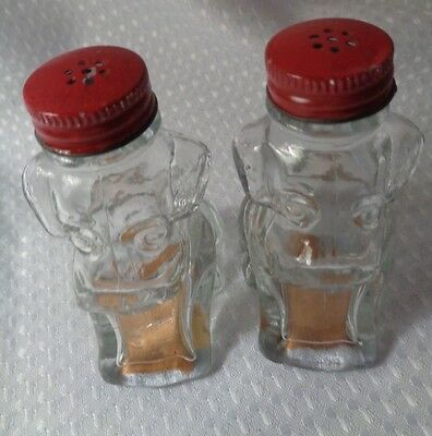 Vtge glass dogs salt pepper shakers liquor souvenir 1960s souvenir 3 1/2""