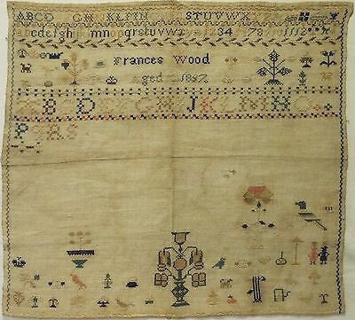 Unfinished Mid 19Th Century Motif & Alphabet Sampler By Frances Wood - 1857