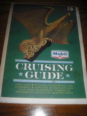 1963 Mobil Oil Marine Boating Cruising Guide #3 Folding Map Great Lakes to Texas