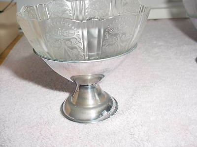 2 Royal Lace Chrome Footed Clear Sherbets