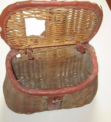 """Vintage Woven WICKER FISHING CREEL 13"""" Leather Fittings, Well-Used -SHIPS FREE"""
