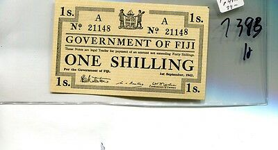 Fiji 1942 One Shilling Currency Note Cu 7393H