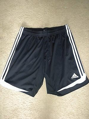 "Men's XL Adidas Athletic Soccer Shorts 8"" inseam Black with white logo climacool"