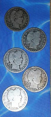 5 Different Circulated Barber Head Quarters, Dates Range 1898 - 1914 - Free Ship