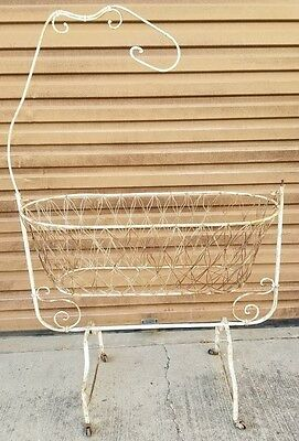Antique Ornate Wire Rocking Baby Bassinet Crib Cradle PICK UP ONLY