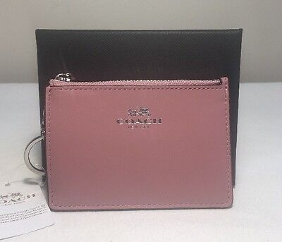 Coach Ladies Mini Skinny Embossed Leather ID Wallet Keychain 54439B- PINK - NWT