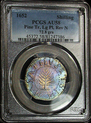 Spectacular 1652 PCGS AU58 Colorful Toned Large Planchet Pine Tree Shilling