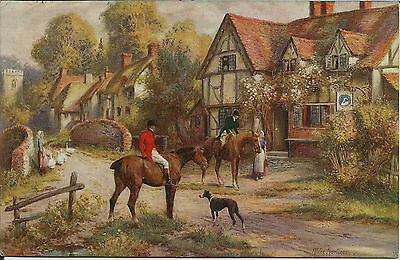 Greyhound Huntsman Rural Scene Artist Drawn Dog Postcard