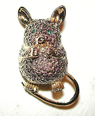 VINTAGE BEGGING LITTLE MOUSE W GREEN EYES 18K GILDED HAMMERED by SPHINX