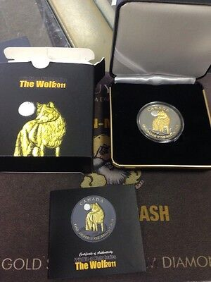 2011 Canadian Wolf Coin With Ruthenium & Gold 2015 Wildlife At Night