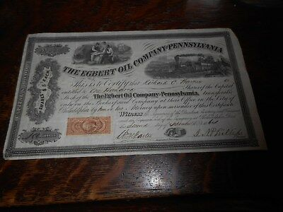 Egbert Oil Company Pennsylvania Stock Certificate 1864