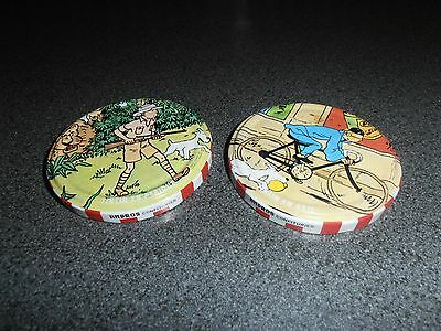 Tintin, Kuifje; very RARE metal confiture tops 1980's