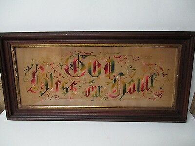 Very Old Berlinwerk - GOD BLESS OUR HOME - Hand Work on Punched Paper - Framed