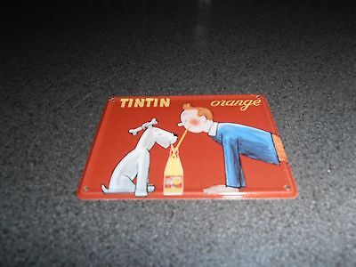 Tintin, Kuifje; very RARE placque emaillee 10,5 x 8 cm Tintin orange 1990's
