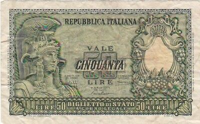 1951 Italy 50 Lire Note, Pick 91a