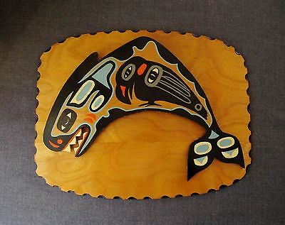 Pacific Northwest 1976 James & Mae Osborne Tlingit Paint Wood Panel Whale Raven