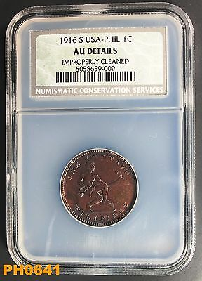 PHILIPPINES Centavo 1916-S NCS AU DETAILS cleaned but still nice appearance