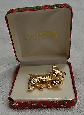 Scotty Scottie Dog Napier Gold-Colored Metal Red Collar White Tag Apparel Pin