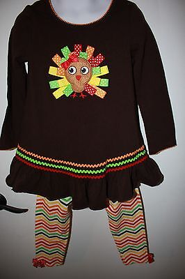 Bonnie Baby 4 Toddler Little Girl's Thanksgiving Holiday 2 Pc Outfit, Cute!